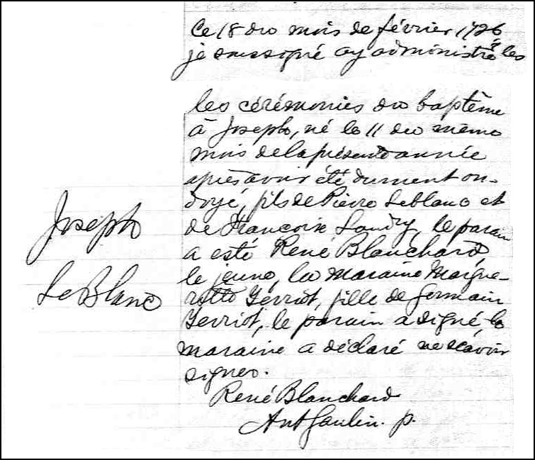 The Birth and Baptismal Record of Joseph LeBlanc - 1726