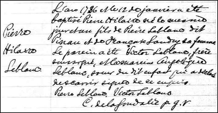 The Birth and Baptismal Record of Pierre Hilaire LeBlanc - 1736