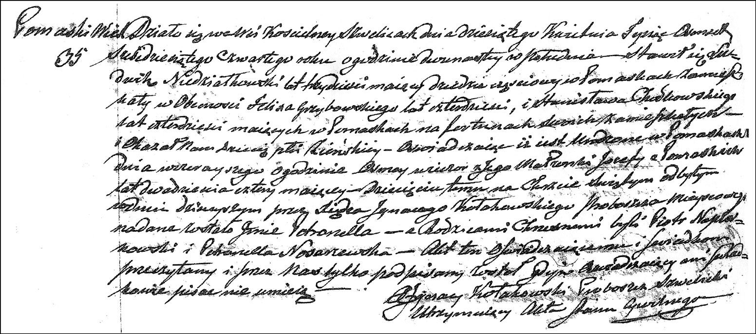 The Birth and Baptismal Record of Petronella Niedzialkowska - 1864