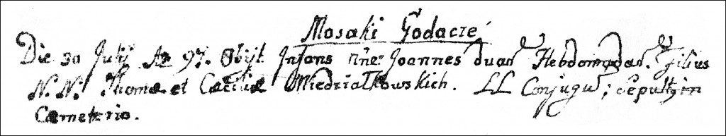 The Death and Burial Record of Jan Wojciech Niedziałkowski - 1797