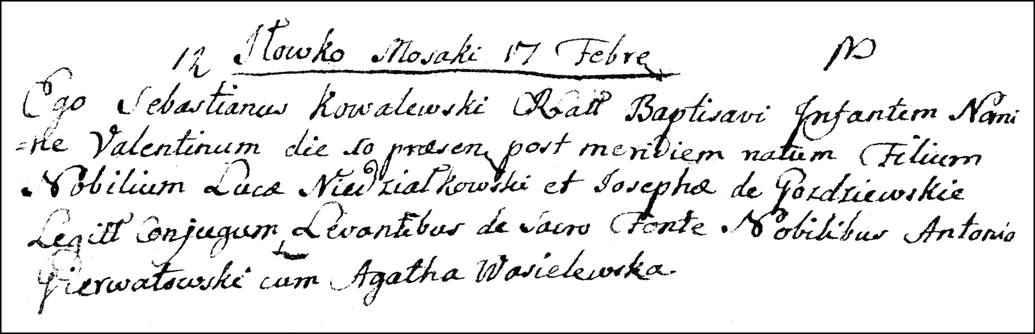 The Birth and Baptismal Record of Walenty Niedzialkowski - 1782