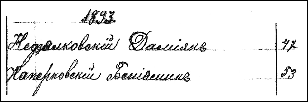 Szwelice Poland Baptismal Index Entry for Damjan Niedzialkowski - 1893