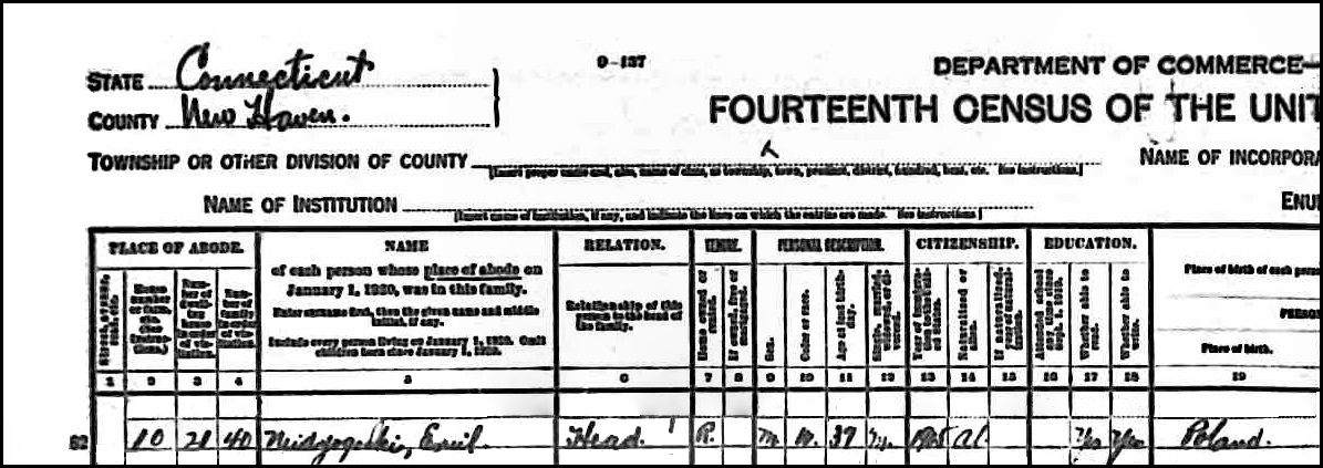 1920 US Federal Census Record for Emil Niedzialkowski (Left)