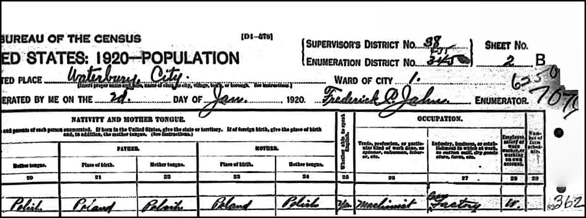 1920 US Federal Census Record for Emil Niedzialkowski (Right)