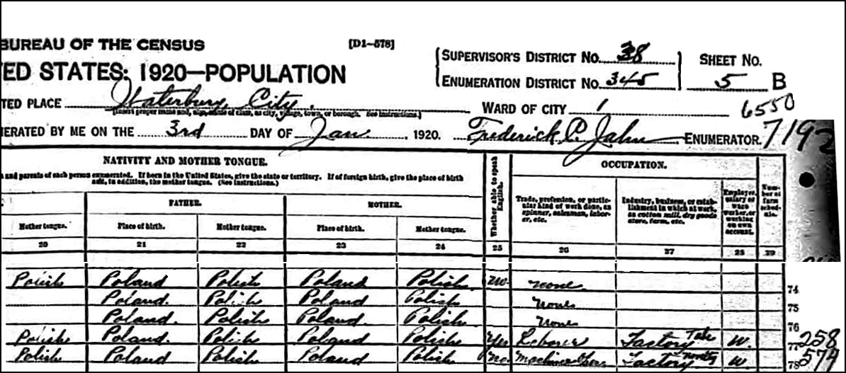1920 US Federal Census Record for Josephine Niedzialkowski - Right