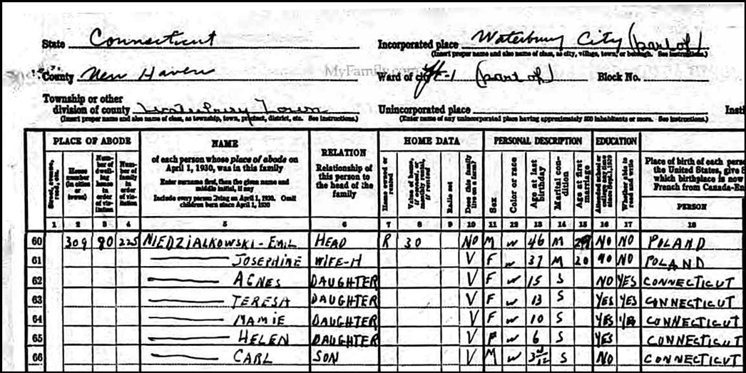 1930 US Federal Census Record for Emil Niedzialkowski - Left