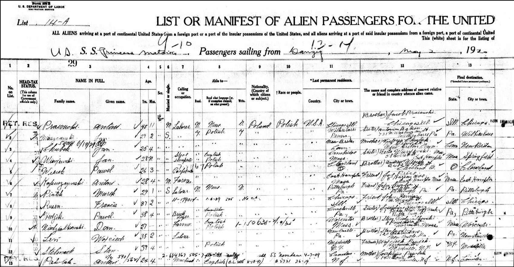 Alien Passenger Manifest for Dam Niedzialkowski - 1920 - Page 1