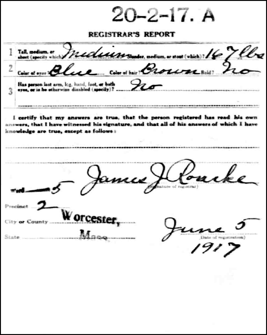 World War I Draft Registration Card for Damijan Niedzialkowski - Back