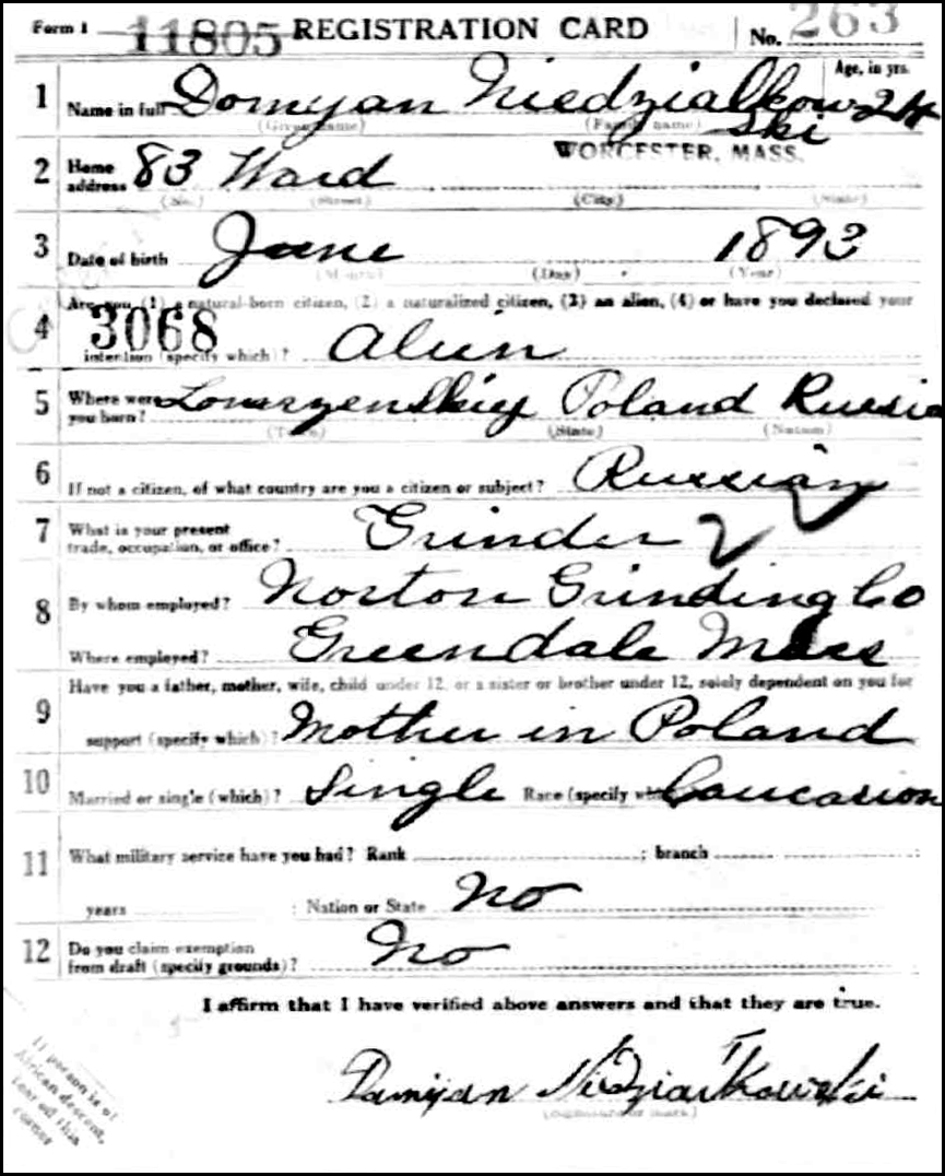 World War I Draft Registration Card for Damijan Niedzialkowski - Front