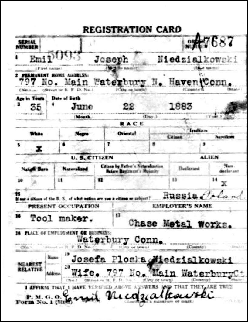 World War I Draft Registration Card for Emil Niedzialkowski (Obverse)