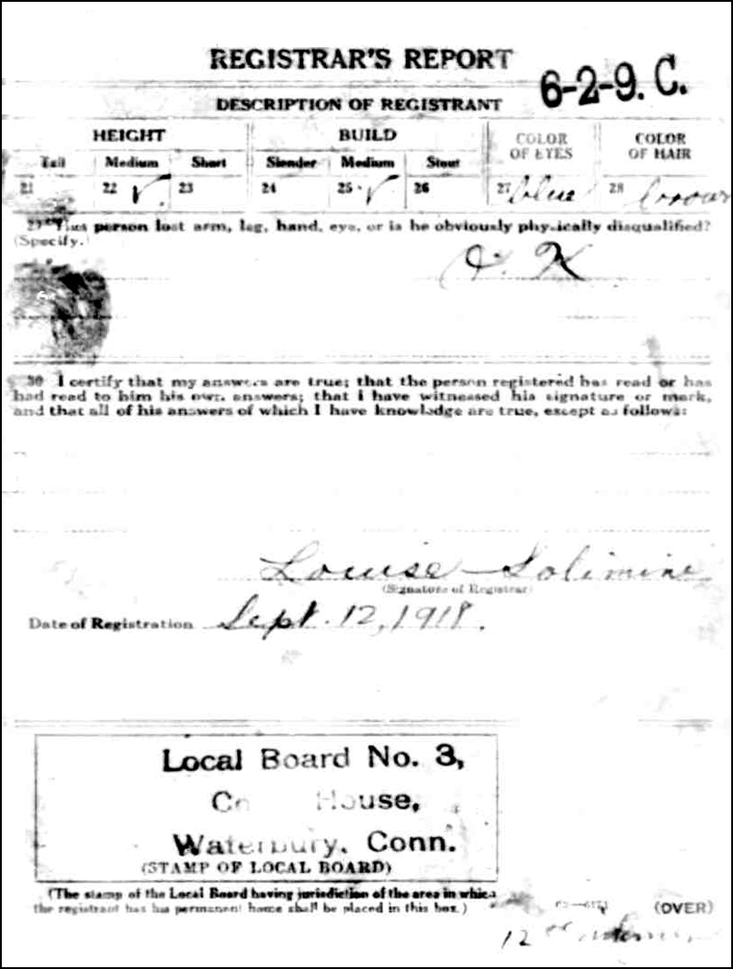 World War I Draft Registration Card for Emil Niedzialkowski (Reverse)