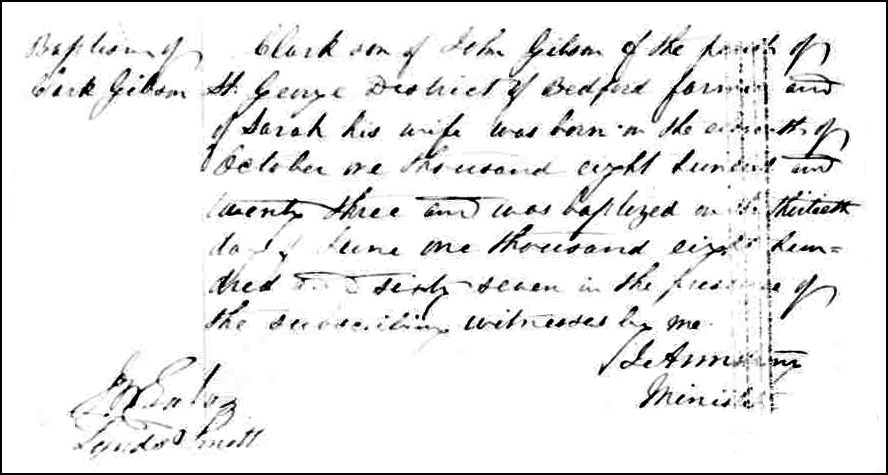 The Birth and Baptismal Record of Clark Gibson - 1867