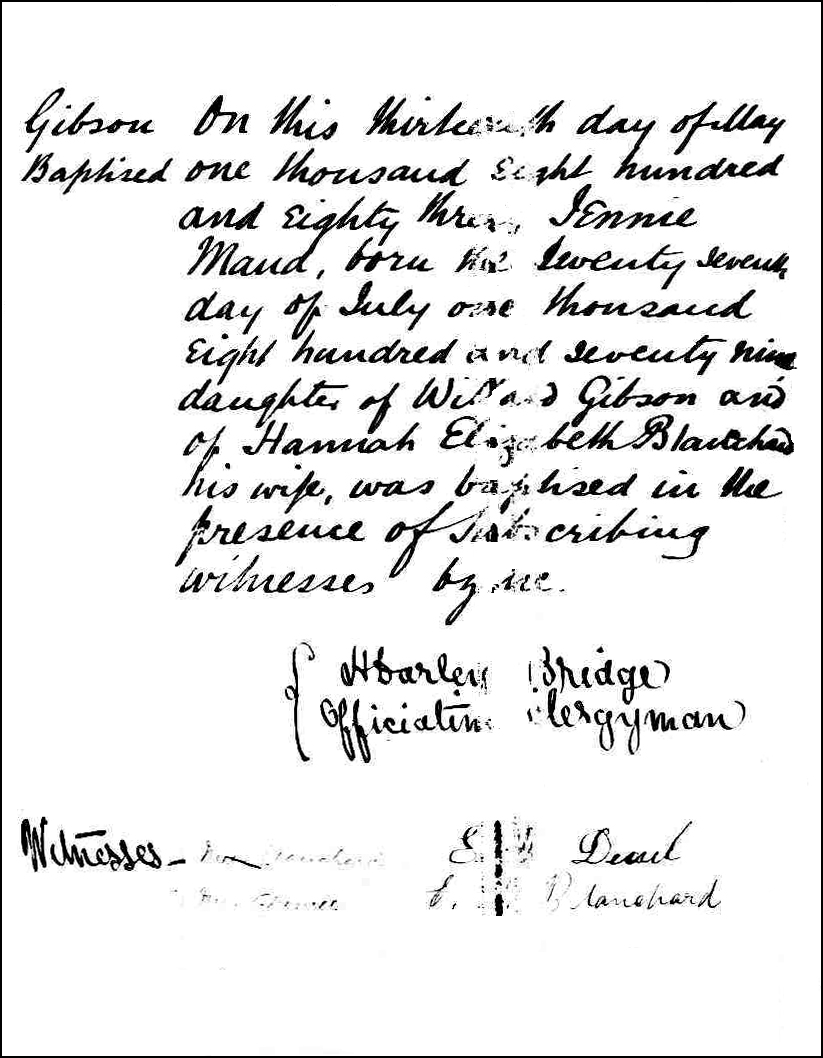 The Birth and Baptismal Record of Jennie Maud Gibson - 1883