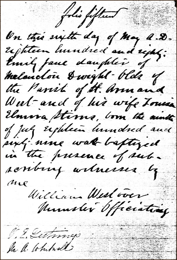 The Birth and Baptismal Record of Emily Jane Olds - 1880