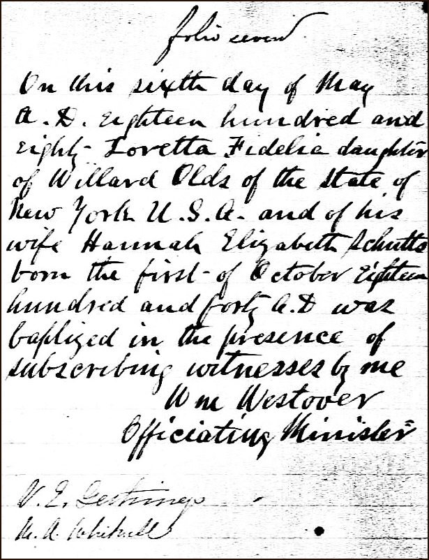 PDF Copy of the Birth and Baptismal Record of Loretta Fidelia Olds - 1880