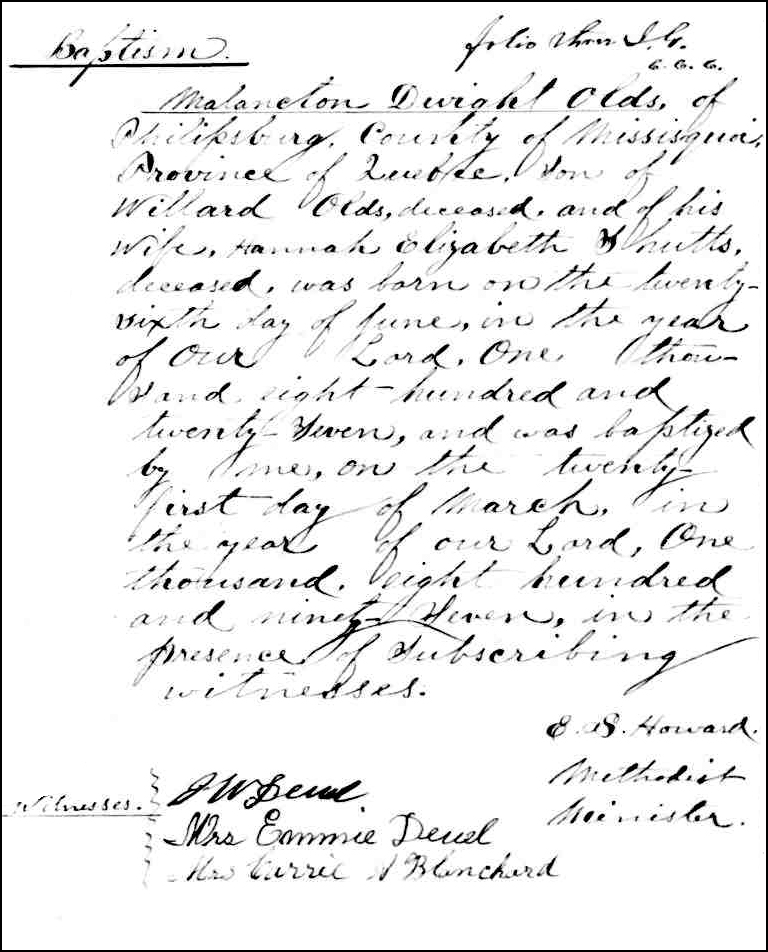 The Birth and Baptismal Record of Malancton Dwight Olds - 1897