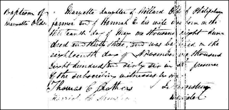 The Birth and Baptismal Record of Maryette Olds - 1866