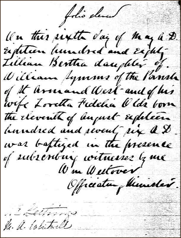 The Birth and Baptismal Record of Lillian Bertha Symms - 1880
