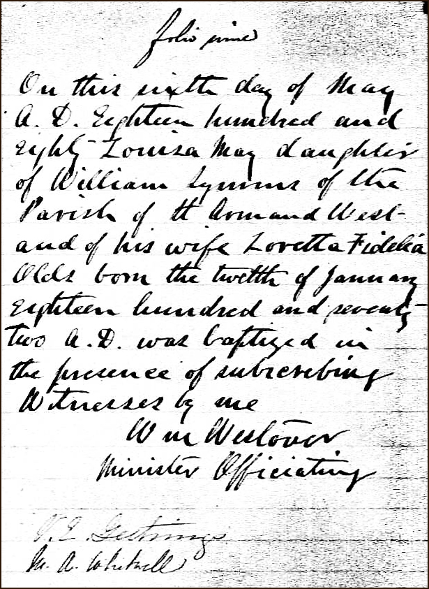 The Birth and Baptismal Record of Louisa May Symms - 1880