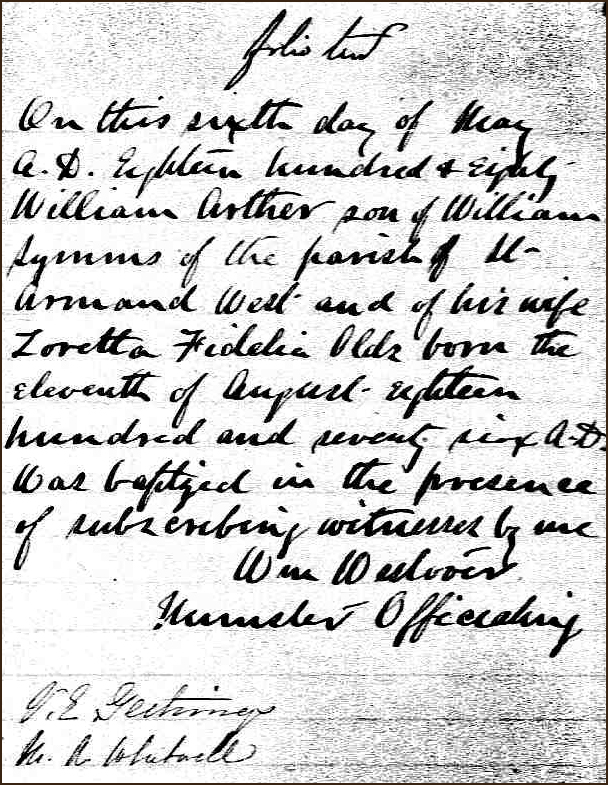 The Birth and Baptismal Record of William Arther Symms - 1880