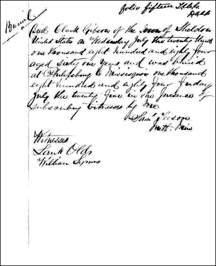 The Death and Burial Record of Clark Gibson - 1884