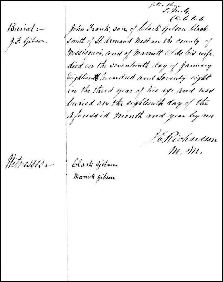 The Death and Burial Record of John Frank Gibson - 1878