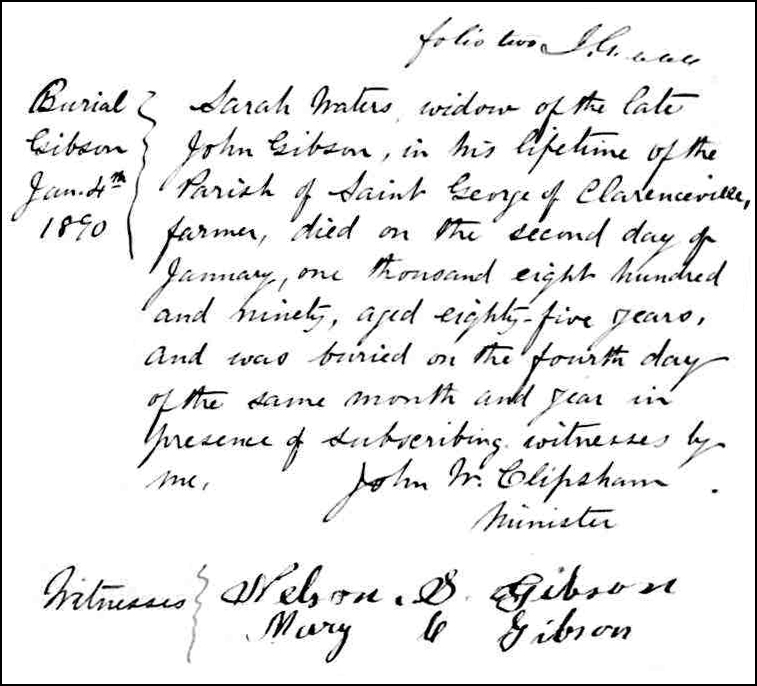 The Death and Burial Record of Sarah Waters Gibson - 1890