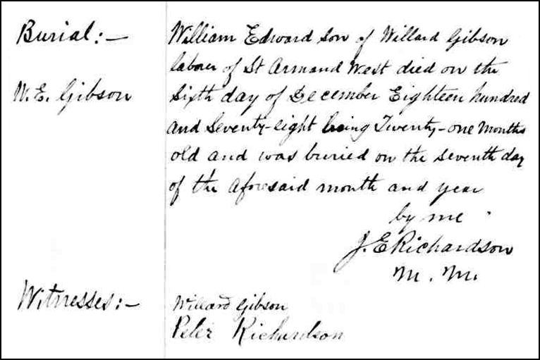 The Death and Burial Record of William Edward Gibson - 1878