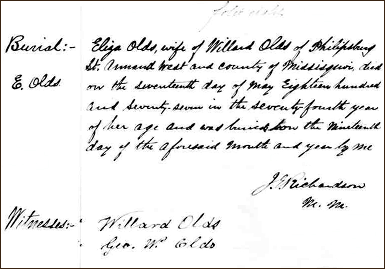The Death and Burial Record of Hannah Elizabeth Shults Olds - 1877