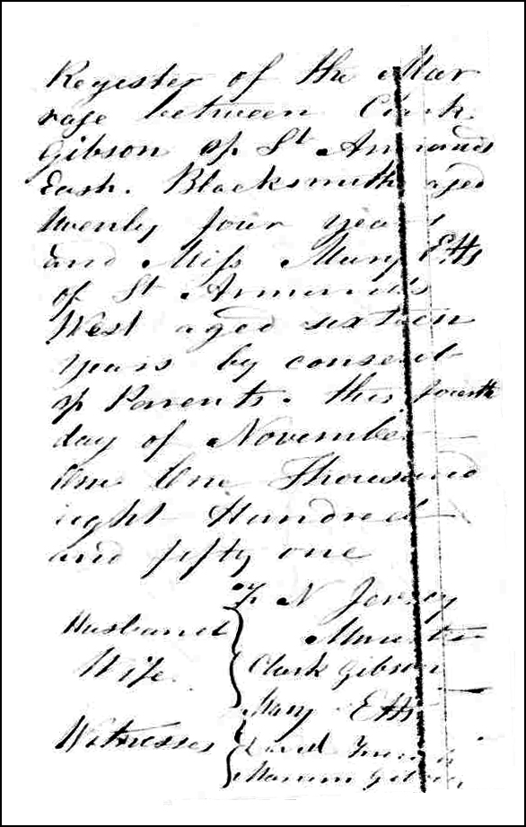 The Marriage Record of Clark Gibson and Maryette Olds - 1851