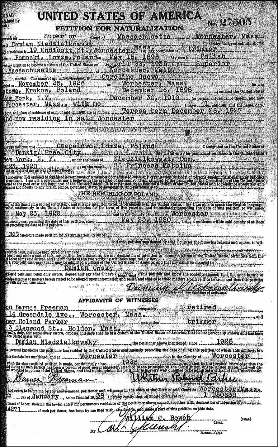 The Petition for Naturalization of Damian Niedzialkowski - 1938 obverse