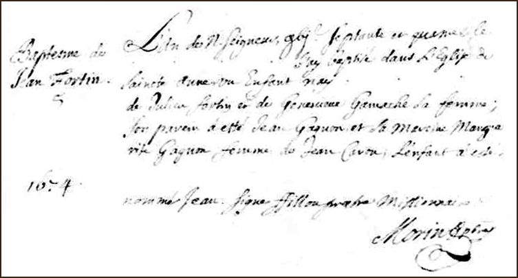 The Birth and Baptismal Record of Jean Fortin - 1674