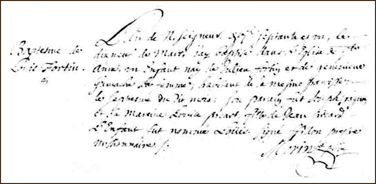 The Birth and Baptismal Record of Louis Fortin - 1671