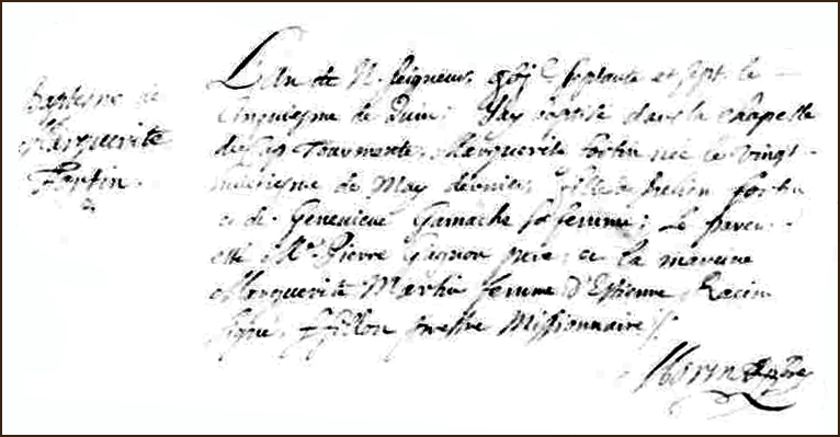 The Birth and Baptismal Record of Marguerite Fortin - 1677
