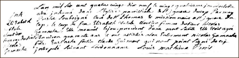 The Death and Burial Record of Elisabeth Ursule Cloutier - 1699