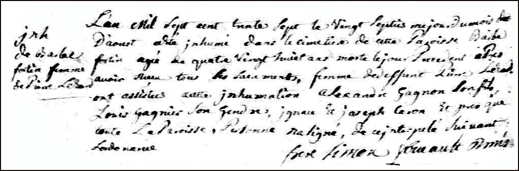 The Death and Burial Record of Barbe Fortin - 1737