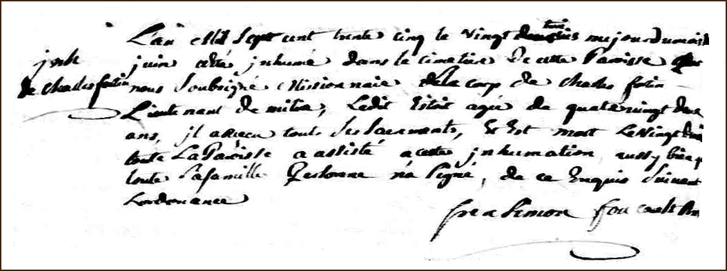 The Death and Burial Record of Charles Fortin - 1735