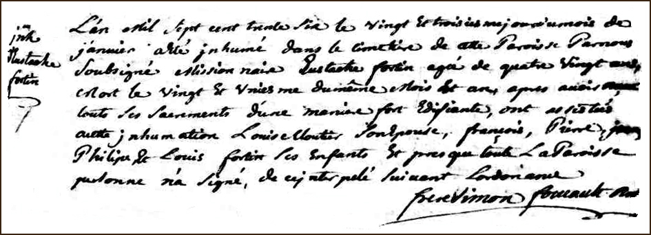 The Death and Burial Record of Eustache Fortin - 1736