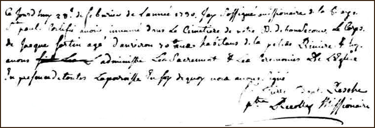 The Burial Record of Jacques Fortin - 1730