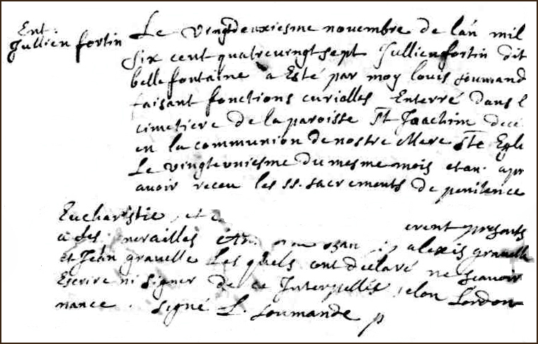 The Birth and Burial Record of Julien Fortin-Bellefontaine - 1687