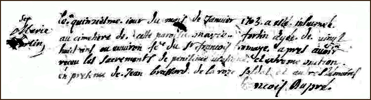 The Death and Burial Record of Marie Marguerite Fortin - 1703
