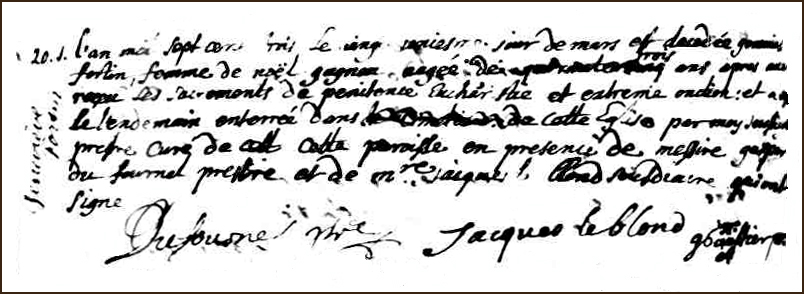 The Death and Burial Record of Marie Genevieve Fortin - 1703