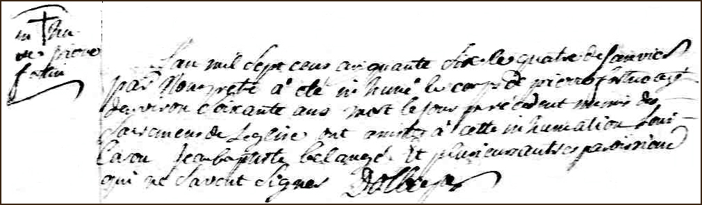 The Death and Burial Record of Pierre Fortin - 1756