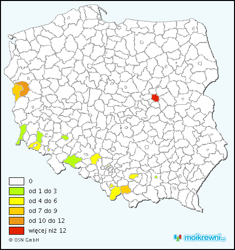 Distribution of the Danko Surname in Poland