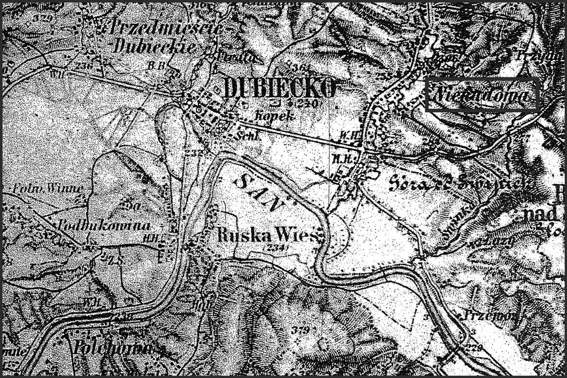 Military Map of the Dubiecko -  Nienadowa region of Galicia in 1894