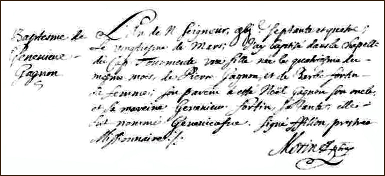 The Birth and Baptismal Record of Genevieve Gagnon - 1674