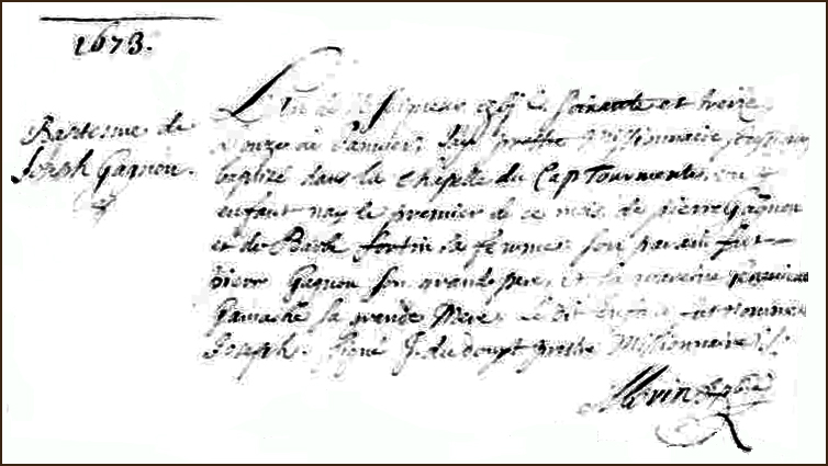 The Birth and Baptismal Record of Joseph Gagnon - 1673