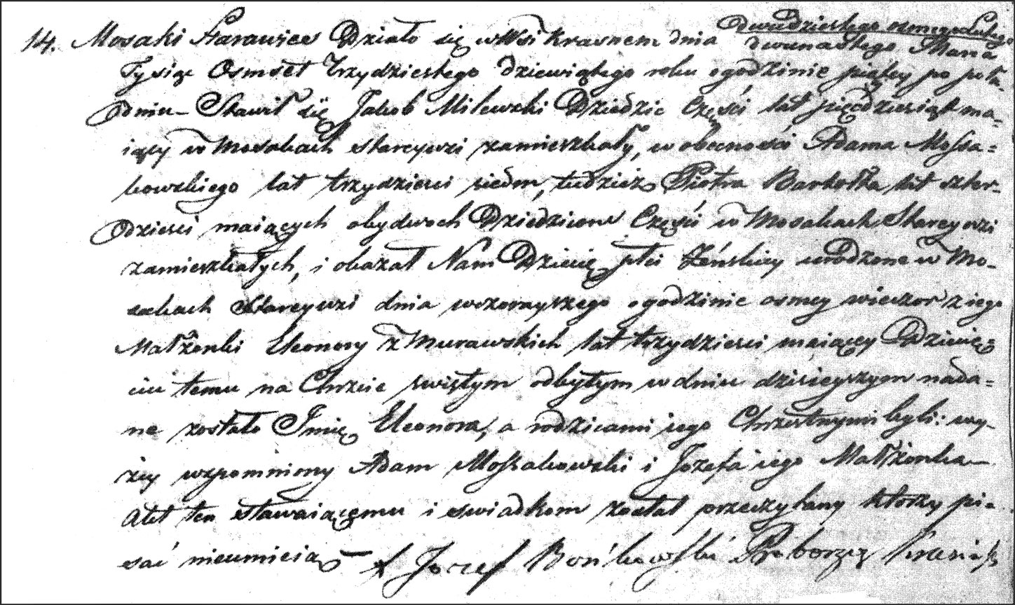 The Birth and Baptismal Record of Eleonora Milewska - 1839