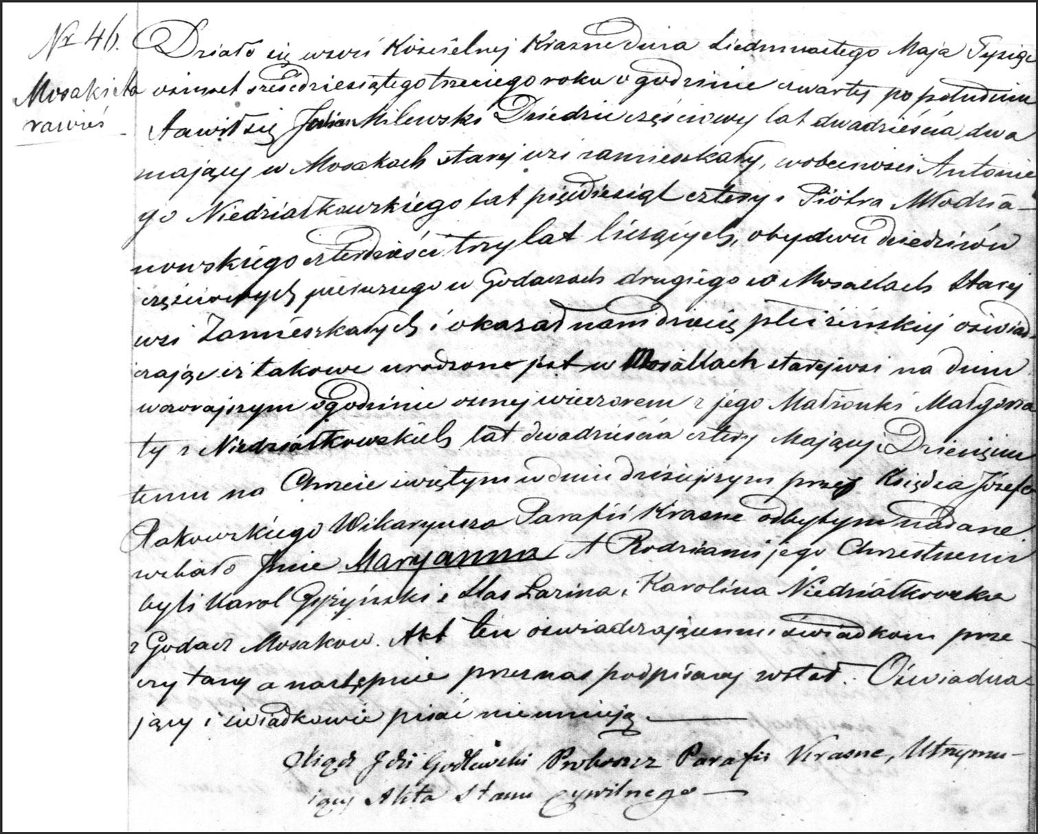 The Birth and Baptismal Record of Maryanna Milewska - 1863