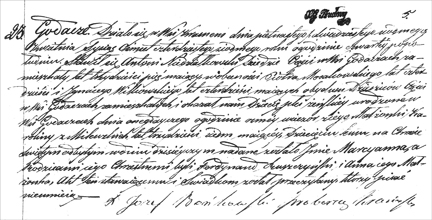 The Birth and Baptismal Record of Marianna Niedzialkowska - 1847